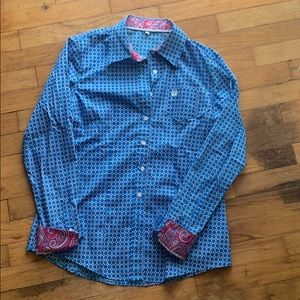 Cinch button down long sleeve shirt